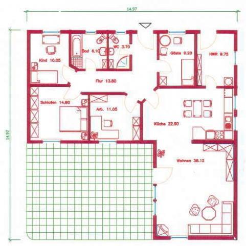 Grundriss bungalow 120 qm mit garage