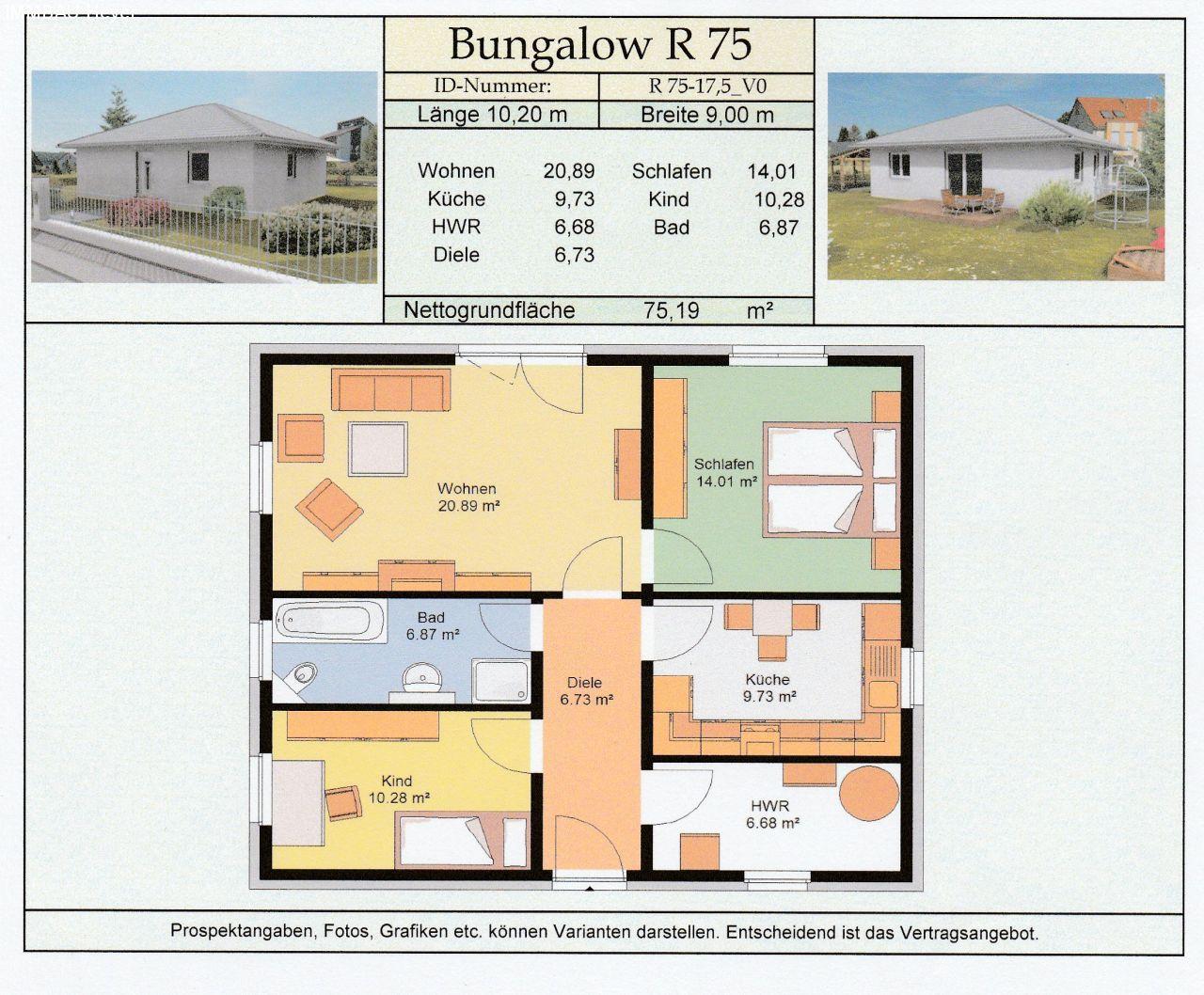 preiswert bauen 24 programm ludwigsfelde bungalow r 75. Black Bedroom Furniture Sets. Home Design Ideas